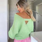Blusa Tricot Transpassado Laisa Verde