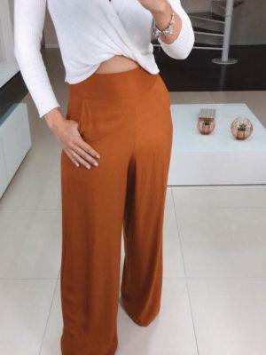 Calça Pantalona Linho Caramelo