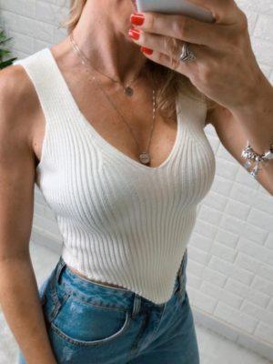 Blusa Cropped Regata Tricot Bico V Branco