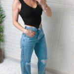 Blusa Cropped Regata Tricot Bico V Preto (2)