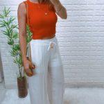 Blusa Cropped Tricot Regata Julie Laranja (2)