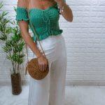 Blusa Cropped Tricot Sanfonado Verde